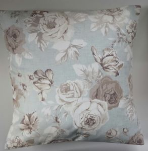 "Cushion Cover in Clarke and Clarke Genevieve Roses Mineral 14"" 16"" 18"" 20"""